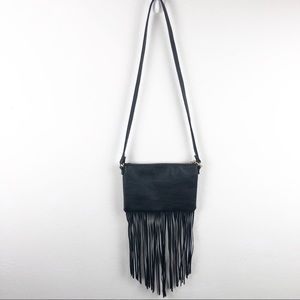 Black fringe faux leather purse
